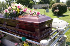 burial in a casket or coffin