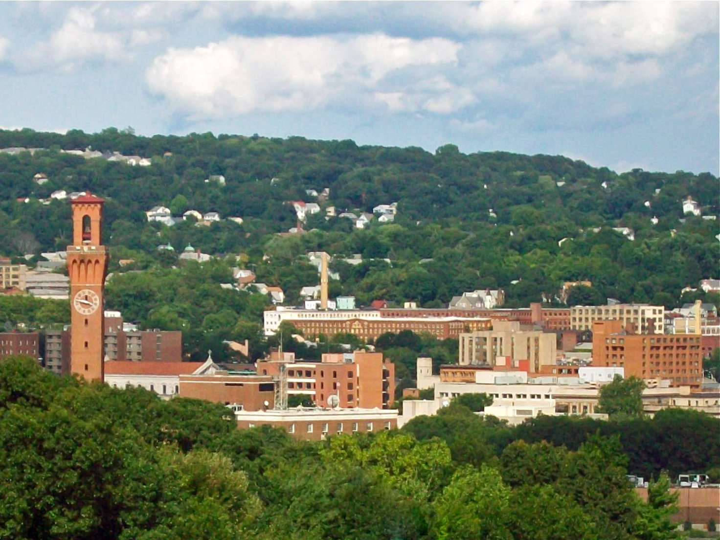 Waterbury Skyline From West With Union Station Clock Tower At Left