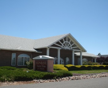 A view of the main entrance for Sunrise Funeral Home and Crematory in Prescott Valley, Arizona.