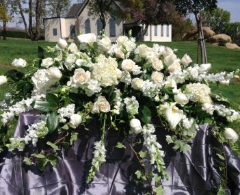 Casket Spray all white premium flowers