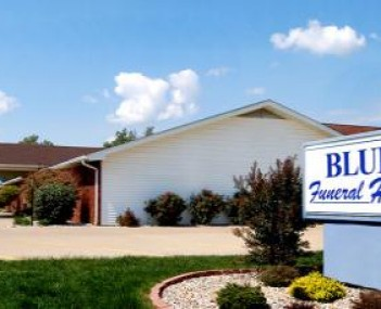 Exterior shot of  Blue Funeral Home
