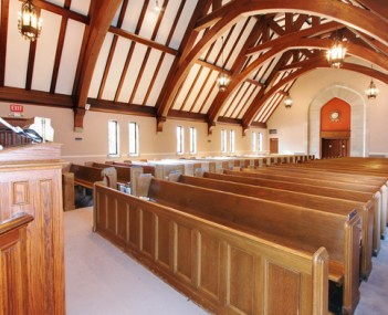 Interior shot of Berger Memorial Chapel