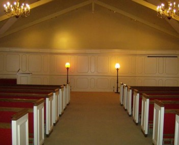 Interior shot of Cornwell Colonial Chapel