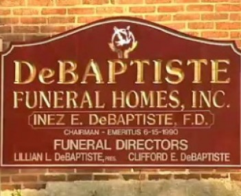 Exterior shot of DE Baptiste Funeral Homes Incorporated