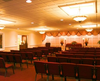 Hemingway South Chapel with ample seating and state of the art audio/video equipment