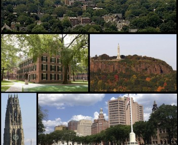 Montage of New Haven. Clockwise from top left: Downtown New Haven skyline, East Rock Park, summer festivities on the New Haven Green, shops along Upper State Street, Five Mile Point Lighthouse, Harkness Tower, and Connecticut Hall at Yale.