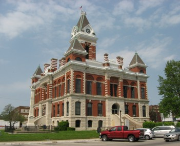 Southern and western sides of Princeton's best-known landmark, the 1884 Gibson County Courthouse