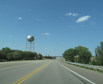 Ellsworth water tower as seen from Kansas State Highway 156