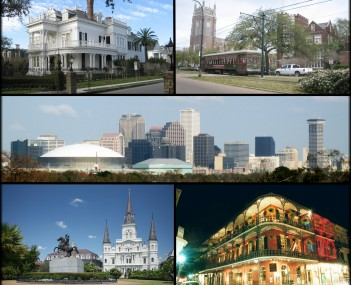 From top left: A typical New Orleans mansion off St. Charles Avenue, a streetcar passing by Loyola University and Tulane University, the skyline of the Central Business District, Jackson Square, and a view of Royal Street in the French Quarter