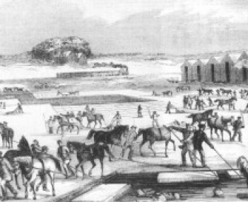 Ice Harvesting on Spy Pond, from an 1854 Print.