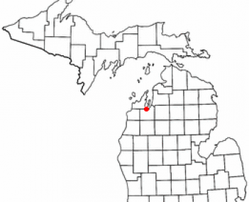 Location of Traverse City within Grand Traverse County, Michigan