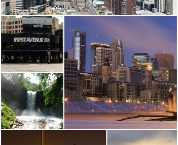 Clockwise from top: Downtown Minneapolis, Downtown, TCF Bank Stadium, the Guthrie Theater, Minnehaha Falls, and First Avenue and 7th St Entry nightclub