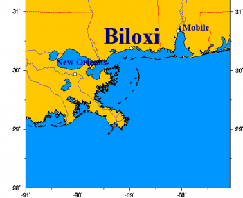 Location of Biloxi, Mississippi on Gulf of Mexico