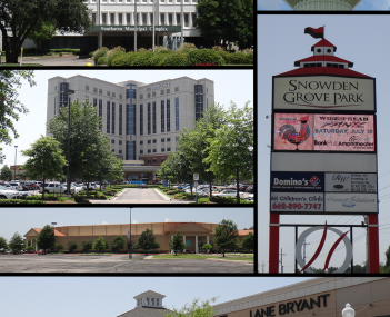 From top to bottom and left to right: Southaven city hall, Southaven water tower, Baptist Memorial Hospital-DeSoto, Snowden Grove Park, Lander's Center, and Southaven Towne Center