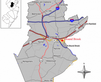 Map showing location of Bound Brook in Somerset County. Inset: Location of Somerset County highlighted in the State of New Jersey.