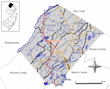 Map of Branchville in Sussex County