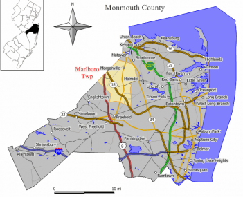 Map of Marlboro Township in Monmouth County. Inset: Location of Monmouth County highlighted in the State of New Jersey.