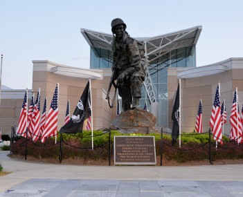 Iron Mike statue in front of the Airborne & Special Operations Museum, Downtown Fayetteville