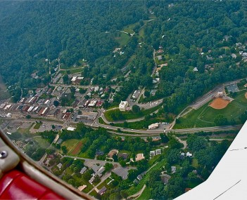 Downtown Sylva from an airplane in 2003