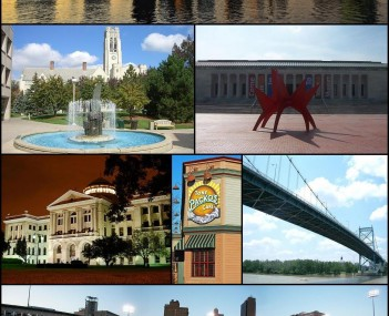 Images, from top left to right: Downtown Toledo, University Hall, Toledo Museum of Art, Lucas County Courthouse, Tony Packo's Cafe, Anthony Wayne Bridge, Fifth Third Field