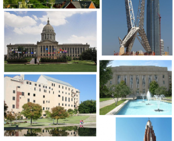 From top left to clockwise: downtown skyline, SkyDance Bridge, City Hall, Gold Star Memorial Building, Chesapeake Energy Arena, Oklahoma City National Memorial, Oklahoma State Capitol.
