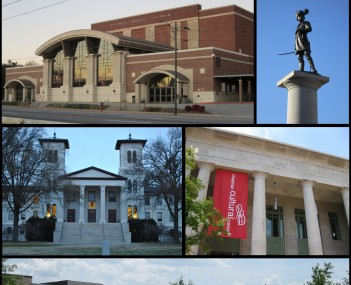 Clockwise from top: Spartanburg skyline, Daniel Morgan statue, Chapman Cultural Center, Morgan Square, Main Building at Wofford College, Spartanburg Memorial Auditorium
