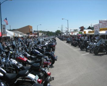Bikes lined up on Main Street during Bike Week.