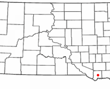 Location of Tyndall, South Dakota