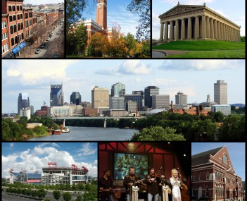 From top left: 2nd Avenue, Kirkland Hall at Vanderbilt University, the Parthenon, the Nashville skyline, Nissan Stadium, Dolly Parton performing at the Grand Ole Opry, and Ryman Auditorium
