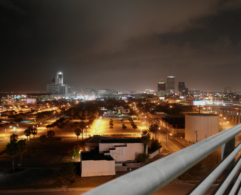 Night photo of Downtown Corpus Christi from the NB side of the Harbor Bridge