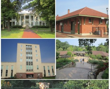 Clockwise: Tyler skyline with Plaza Tower at right and People's National Bank office building in center, Cotton Belt Depot, Caldwell Zoo, Chamblee Rose Garden, Smith County Courthouse, Goodman Home.