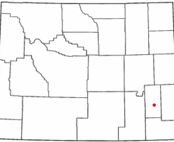 Location of Wheatland, Wyoming