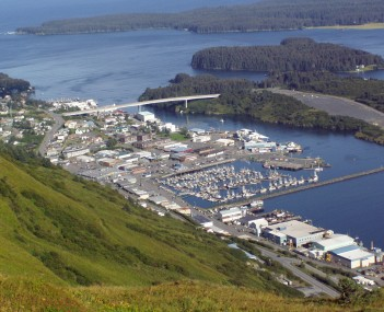 View of Kodiak from Pillar Mountain.  At center, from top to bottom: the Near Island Bridge, downtown and the small boat harbor.
