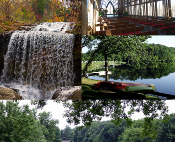 Clockwise, from top: Mildred B. Cooper Memorial Chapel, Lake Ann, Bella Vista golf, and a waterfall along Tanyard Creek