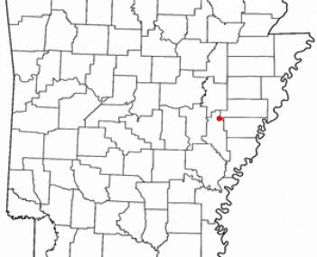Location of Brinkley, Arkansas