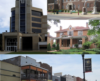 Clockwise from top: Craighead County Courthouse, house in the West Washington Avenue Historic District, downtown Jonesboro, and Arkansas State University's Dean B. Ellis Library