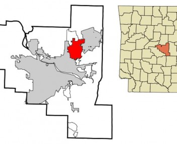 Location in Pulaski County and the state of Arkansas