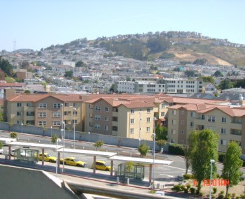 Colma, from the roof of the BART station parking garage. Portions of Daly City are in the background.
