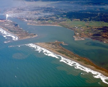 Humboldt Bay and Eureka aerial view