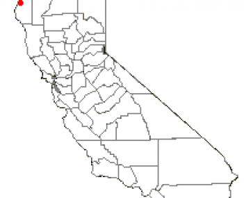 Map of California showing the location of Eureka