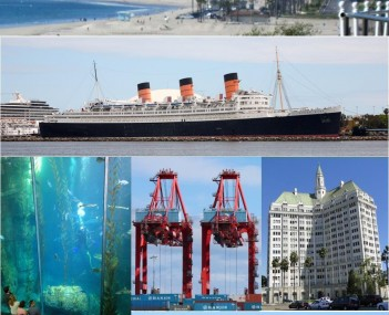 Images from top, left to right: Long Beach skyline from Bluff Park, RMS Queen Mary, Aquarium of the Pacific Blue Cavern exhibit, Hanjin Terminal at Port of Long Beach, Villa Riviera, Metro Blue Line, Long Beach Lighthouse