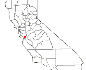 Location of San Martin in Santa Clara County, California, USA
