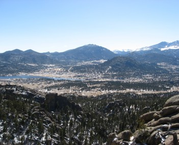 Panorama of Estes Park as seen from Lumpy Ridge