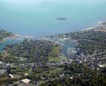 Aerial view of Milford's and harbor
