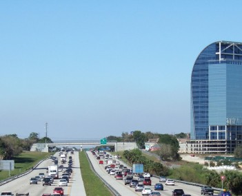 Skyline of Altamonte Springs viewed from I-4, with the Majesty Building  in the background.