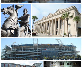 Top, left to right: Downtown Jacksonville, statue of Andrew Jackson, Prime F. Osborn III Convention Center, EverBank Field, Veterans Memorial Arena, Florida Theatre