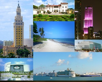 From top, Left to Right: Skyline of Downtown, Freedom Tower, Villa Vizcaya, Miami Tower, Virginia Key Beach, Adrienne Arsht Center for the Performing Arts, AmericanAirlines Arena, PortMiami, the Moon over Miami