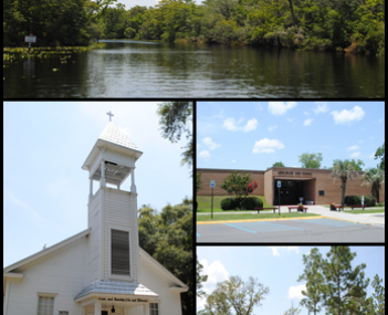 Top, left to right: Black Creek, Middleburg United Methodist Church, Middleburg High School, Jennings State Forest