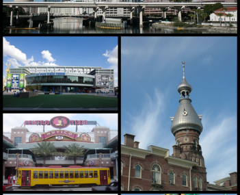 Images from top, left to right: Skyline of Downtown Tampa, Amalie Arena, Ybor City, Henry B. Plant Museum, Raymond James Stadium, Busch Gardens Tampa Bay