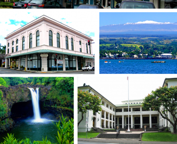 Top: S. Hata Building. Upper Left: Hilo Masonic Lodge Hall. Upper Right: Hilo Bay with Mauna Kea. Lower Left: Rainbow Falls (Hawaii). Lower Right: Federal Building, United States Post Office and Courthouse (Hilo, Hawaii). Bottom: Liliuokalani Park and Gar